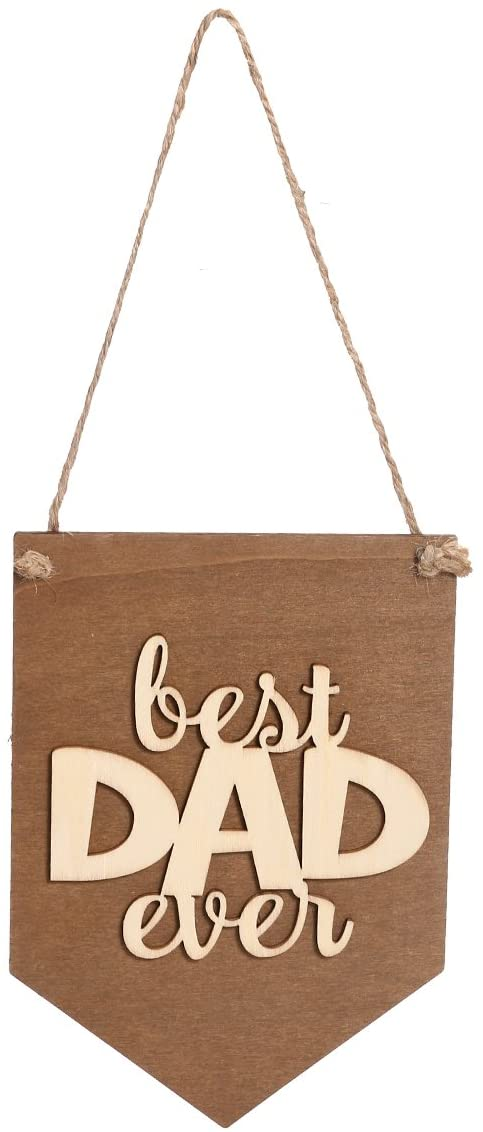 BESTOYARD Best DAD Ever Wood Sign Birthday Wall Plaque Sign Home Decor