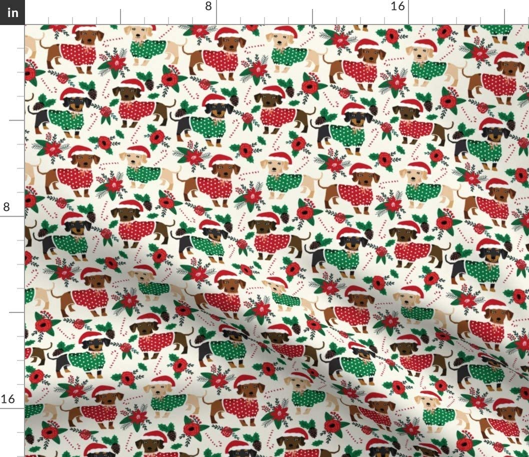 Spoonflower Fabric - Christmas Cute Dachshunds Best Dogs Xmas Holiday Dachshund Dog Printed on Petal Signature Cotton Fabric by The Yard - Sewing Quilting Apparel Crafts Decor