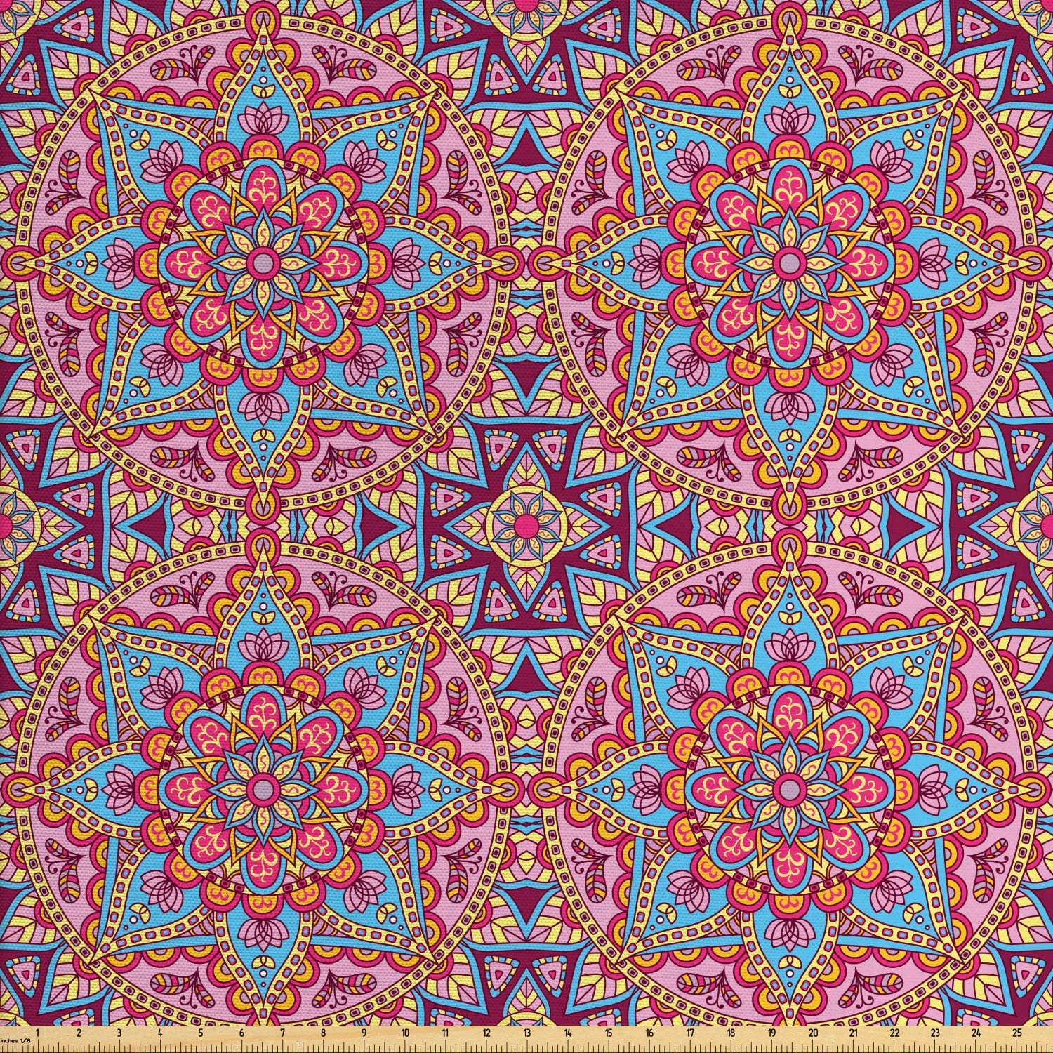 Ambesonne Purple Mandala Fabric by The Yard, Hippie Style Eastern in Moroccan Vivid Tones Motif, Decorative Fabric for Upholstery and Home Accents, 1 Yard, Pastel Pink