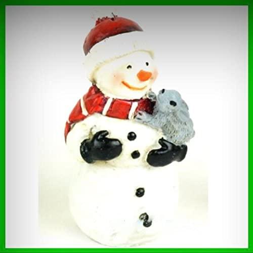 Miniature Dollhouse Fairy Garden Christmas Snowman with Rabbit Figurine 227 - My Mini Fairy Garden Dollhouse Accessories for Outdoor or House Decor