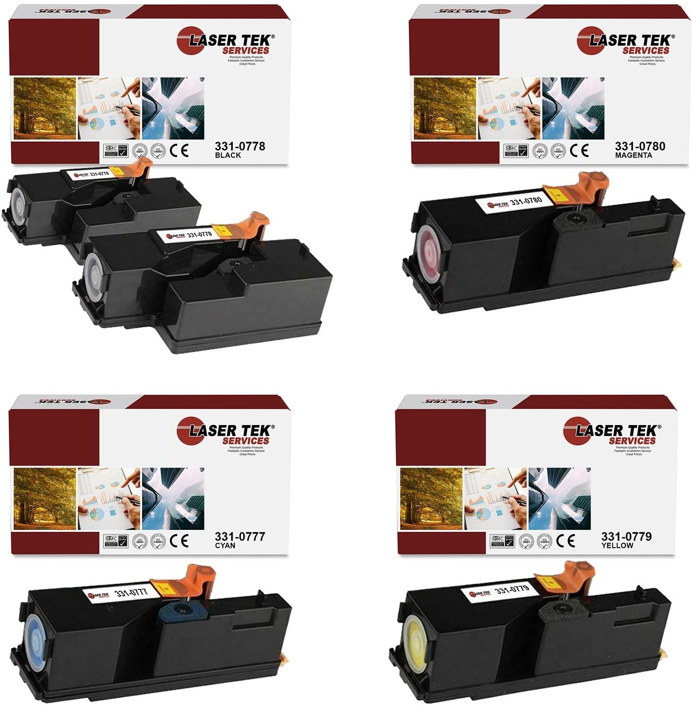 Laser Tek Services Compatible 1250 331-0778 331-0777 331-0780 331-0779 Toner Cartridge Replacement for Dell 1250C 1350CNW 1355CN, C1760NW C1765NF Printers (Black, Cyan, Magenta, Yellow, 5 Pack)