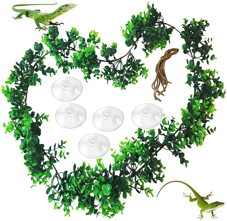 PINVNBY Reptile Hanging Plastic Plants Lizards Habitat Decorations with Suction Cup Artificial Terrarium Decor Pet Climbing Ornament for Amphibians Bearded Dragons Geckos
