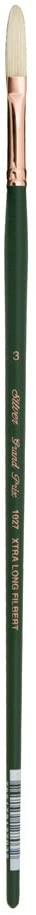 Silver Brush 1027-3 Grand Prix Premier Long Handle Hog Bristle Brush, Extra Long Filbert, Size 3