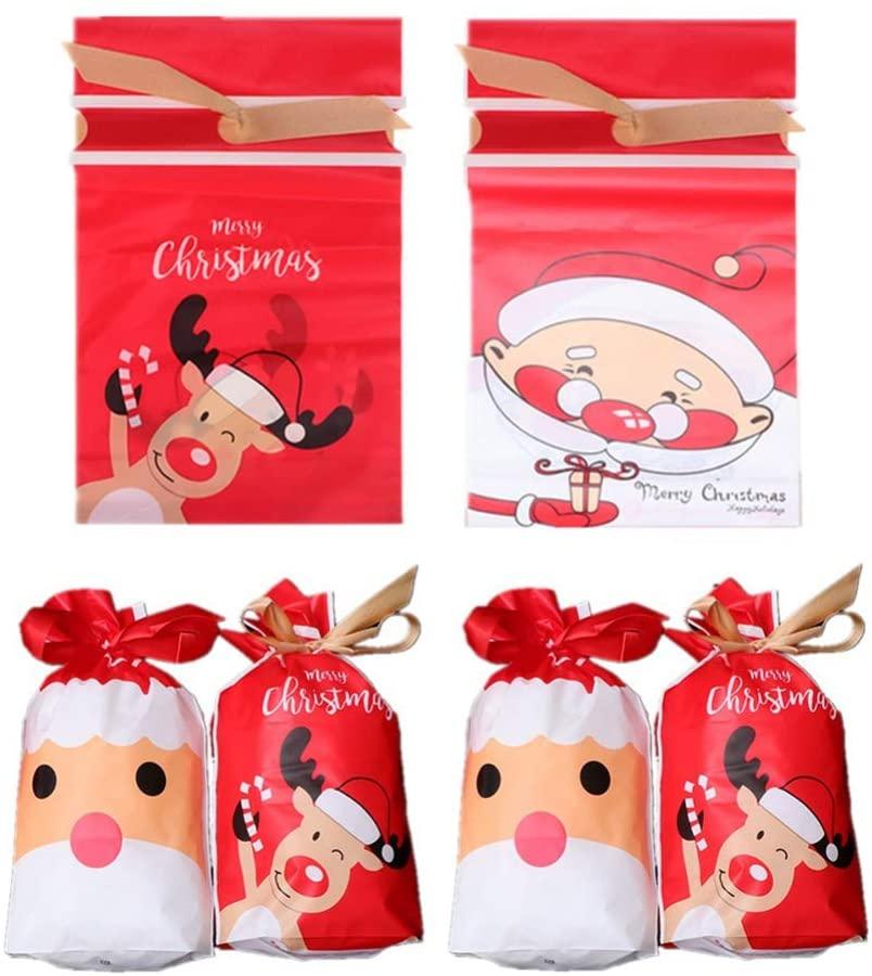 Toyvian 50pcs Christmas Candy Bags Bundle Pockets Drawstring Bag Gift Bags for Kids Children
