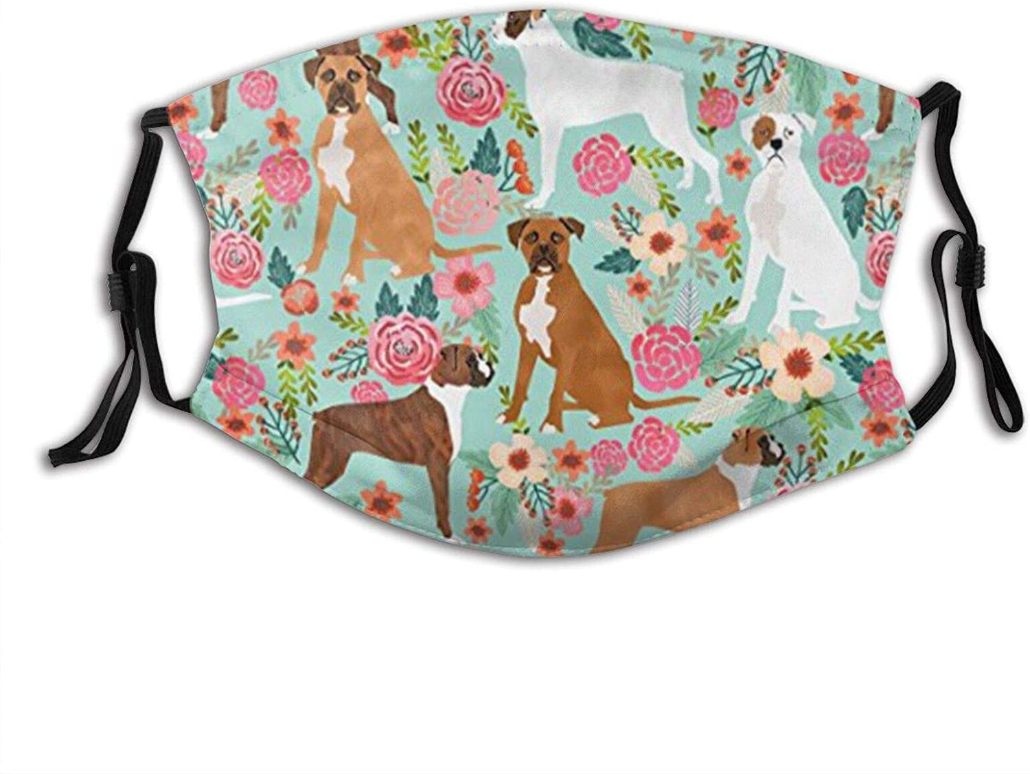 Boxer Dog Flowers Florals Mint Cute Flowers Face Mask With Filter Pocket Washable Reusable Face Bandanas Balaclava With 2 Pcs Filters
