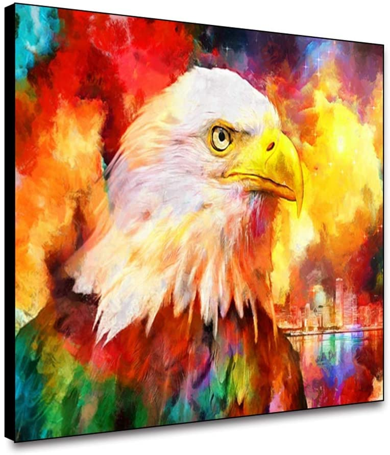 ARRMT Framed Canvas Wall Art Owl On Colorful Background Art Prints Wall Decor Poster for Living Room Bedroom Bathroom Artwork Decoration for Home Decoration 10x8inch Ready to Hanging