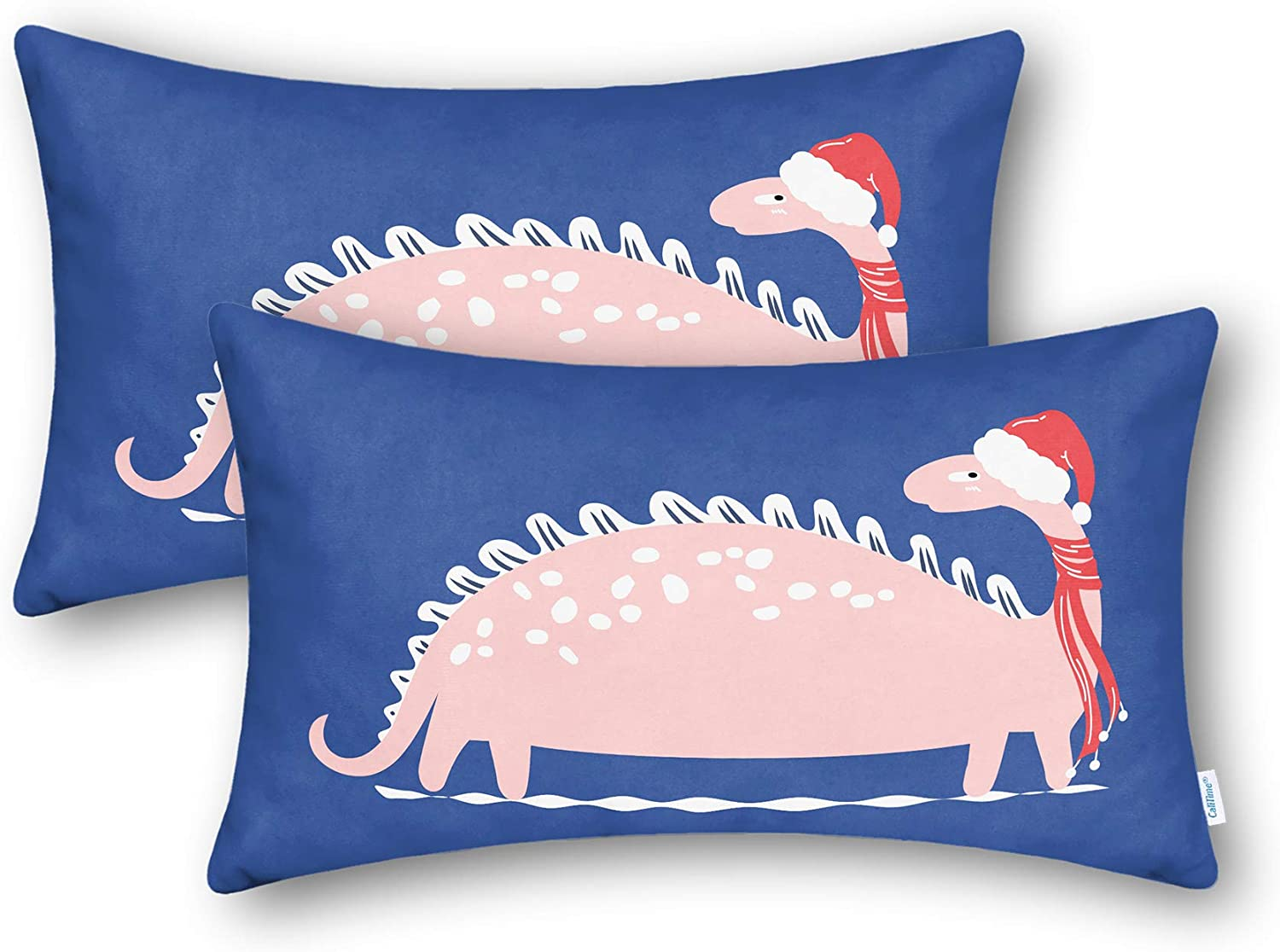 CaliTime Throw Pillow Cases Pack of 2 Cozy Fleece Christmas Hat Scarf Long Pink Dinosaur Printed Cushion Covers for Couch Sofa Bedroom 12 X 20 Inches Navy Blue