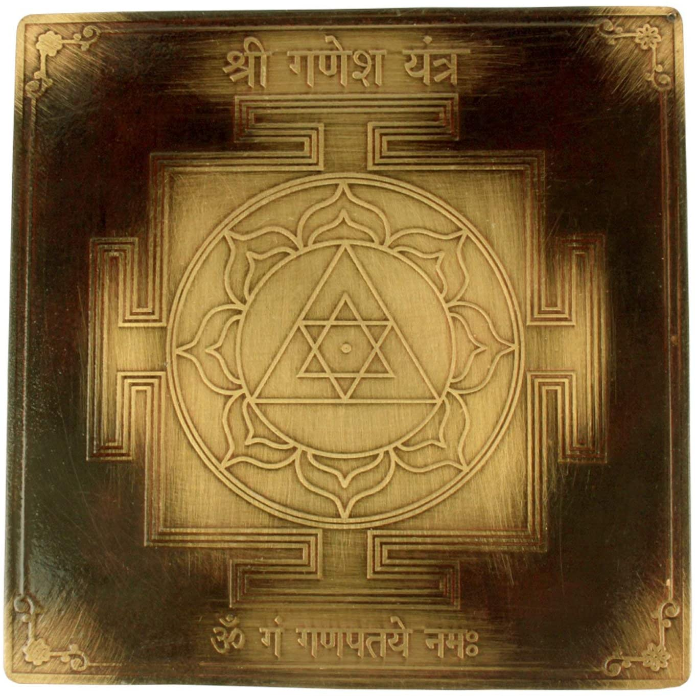 Tatva Yog Copper Plated Shree Ganesh Yantra Effective For Home, Office, Shop, Living Room, Reception, Study Room with Accurate Cutting, 3 inches