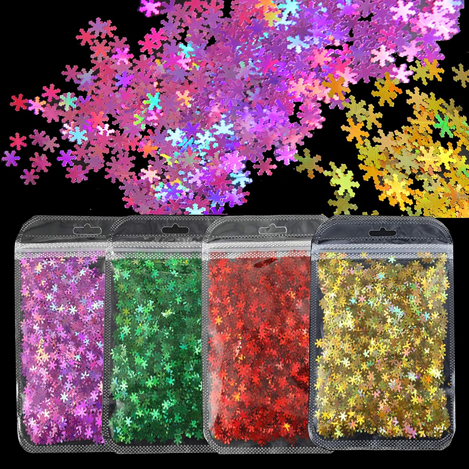 40g Holographic Snowflake Glitter Confetti Holo Laser Red Gold Green Snow Flake Chunky Glitter Sequins Flakes Accessories for Nail Art, Resin Epoxy