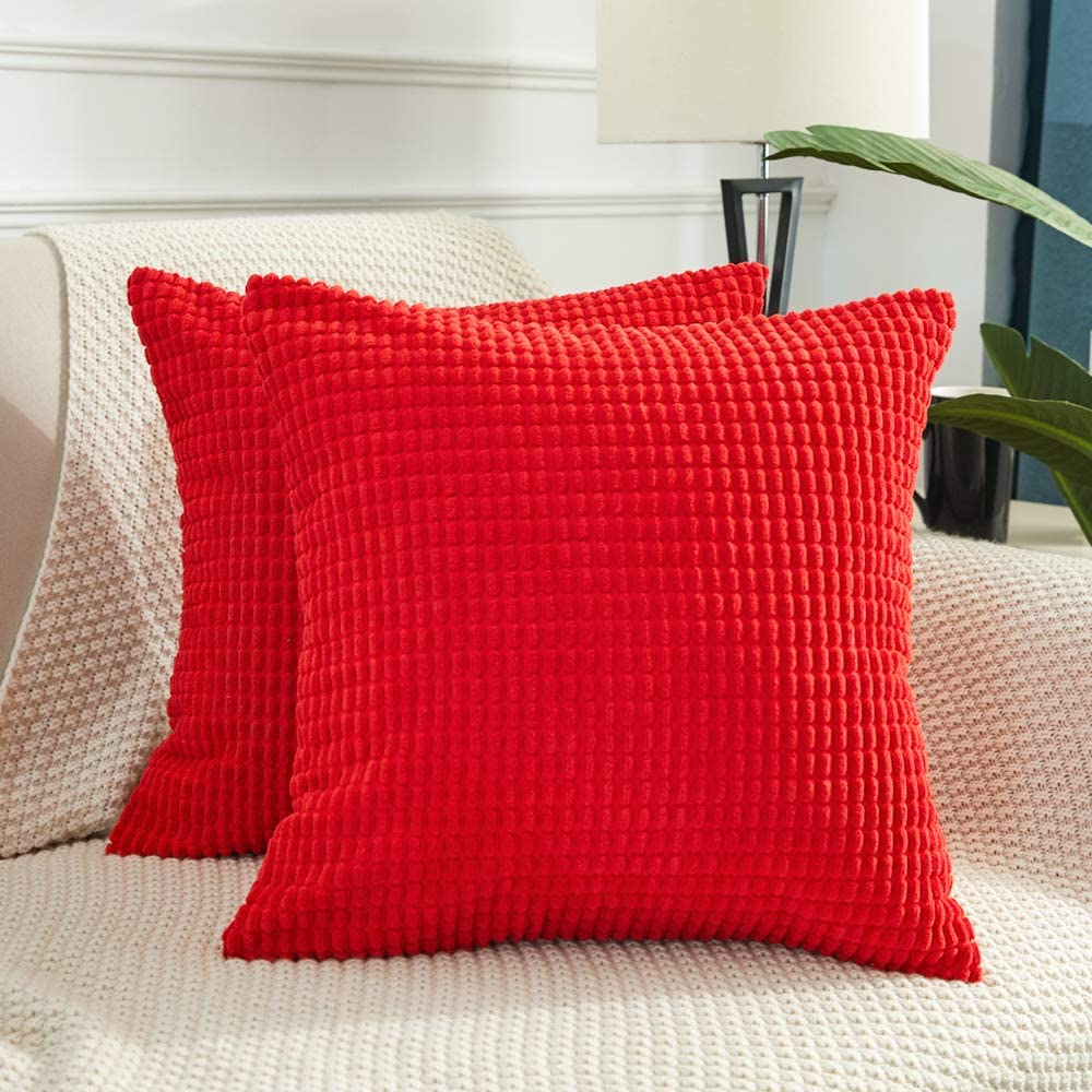 BEBEN Throw Pillow Covers - Set of 2 Pillow Covers 18x18, Decorative Euro Pillow Covers Corn Striped, Soft Corduroy Cushion Case, Home Decor for Couch, Bed, Sofa, Bedroom, Car (Red, 18X18)