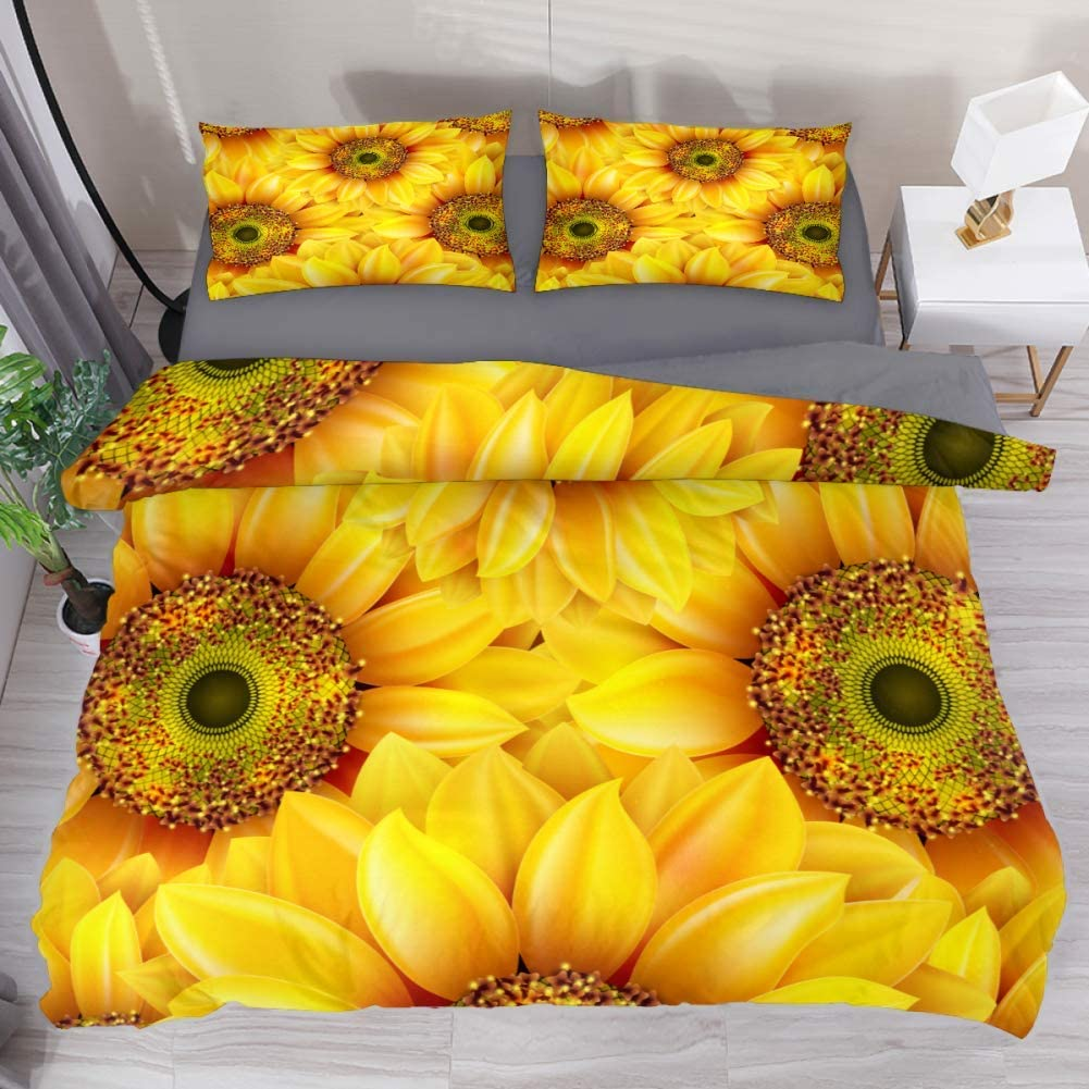 LvShen Floral Sunflower Yellow Bedding Sets Queen Size 3 Pieces Printed Sheets Bed Coverlet Duvet Cover Set with 2 Pillow Cases Shams for Home Women Men