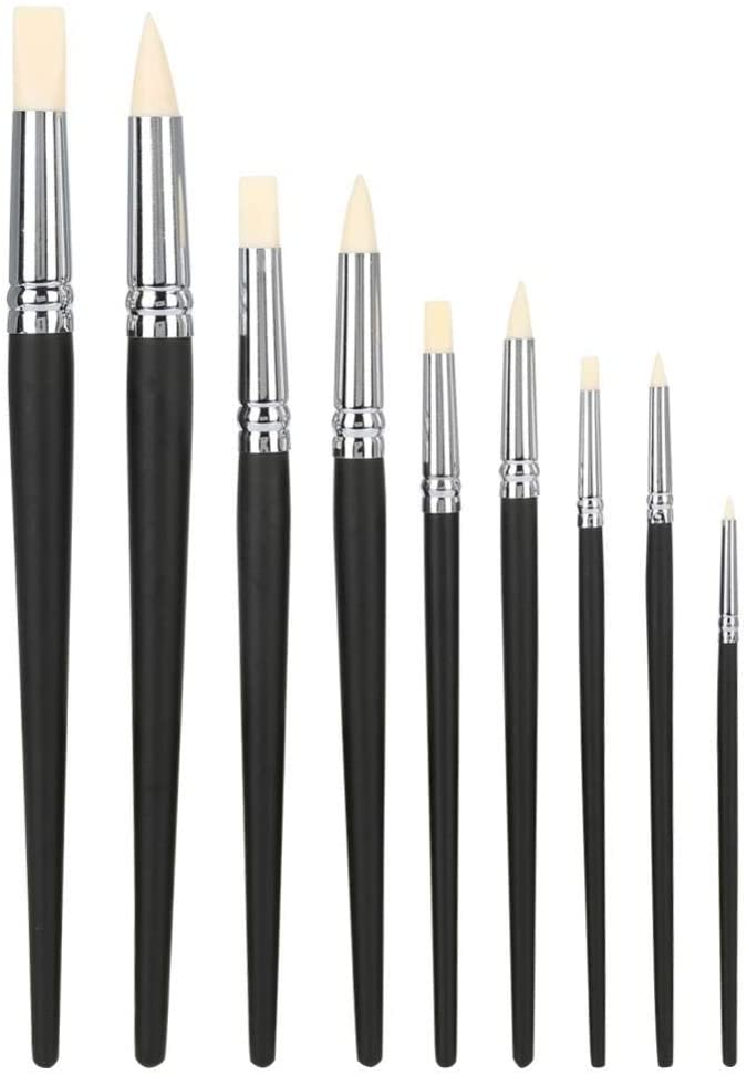 Clay Pottery Tools,9PCS Silicone Soft Head Clay Sculpture Moulding Pen Clay Sculpting Tool Set Rubber Head Sculpture Tools Carving Modeling Accessory