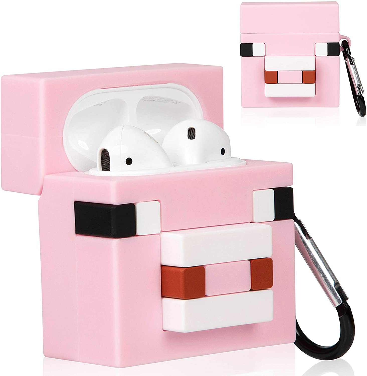 WowChic Case Compatible for Airpods 2/1, Cute Unique Design Cartoon Fashion Character Air pods Charging Cover Accessories Shockproof Kits, Cool Fun Funny Silicone Protective for Airpod (Minecraft-Pig)