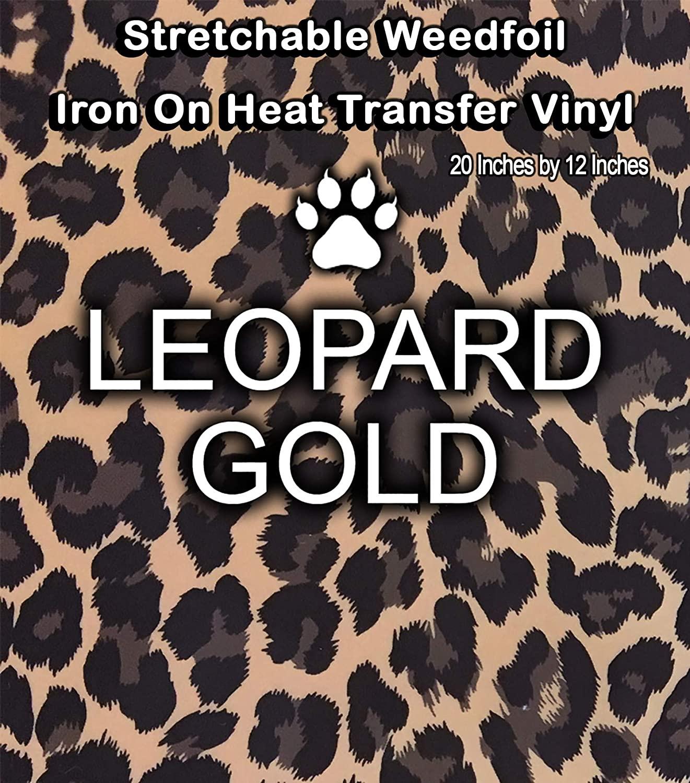 HTV Leopard Gold Metallic Foil Animal Print Iron On Heat Transfer Vinyl 12 x 19.67 - 3 Sheets