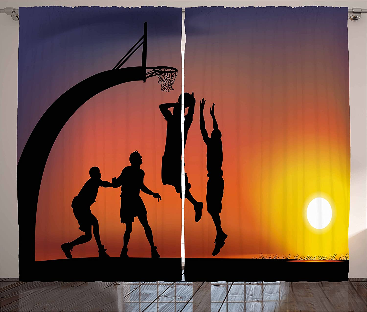 Ambesonne Teen Room Curtains, Boys Playing Basketball at Sunset Horizon Sky with Dramatic Scenery, Living Room Bedroom Window Drapes 2 Panel Set, 108