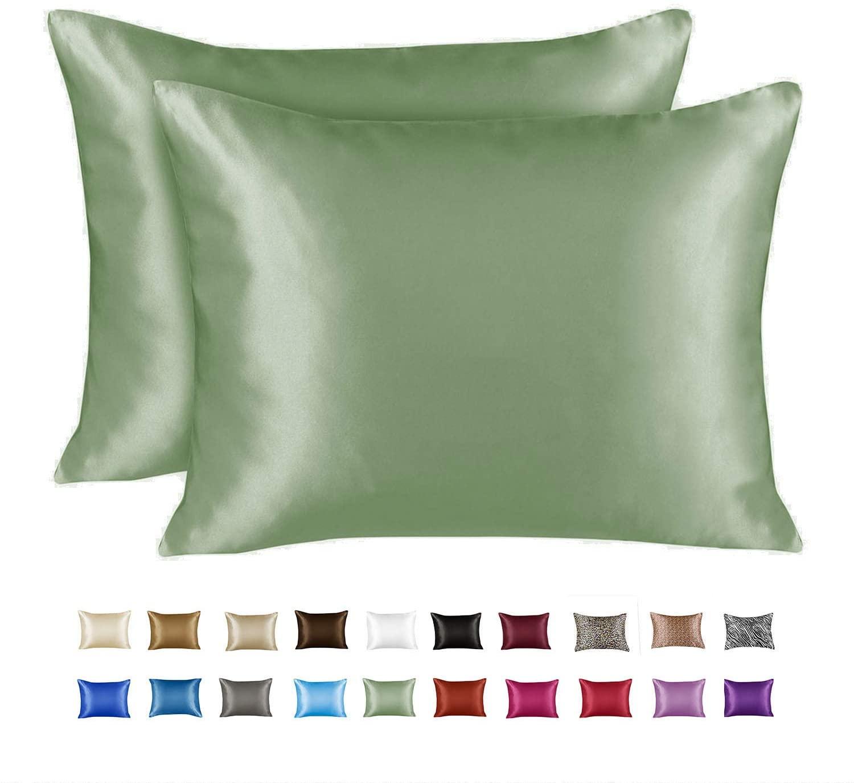 ShopBedding Luxury Satin Pillowcase for Hair – King Satin Pillowcase with Zipper, Sage (Pillowcase Set of 2) – Blissford
