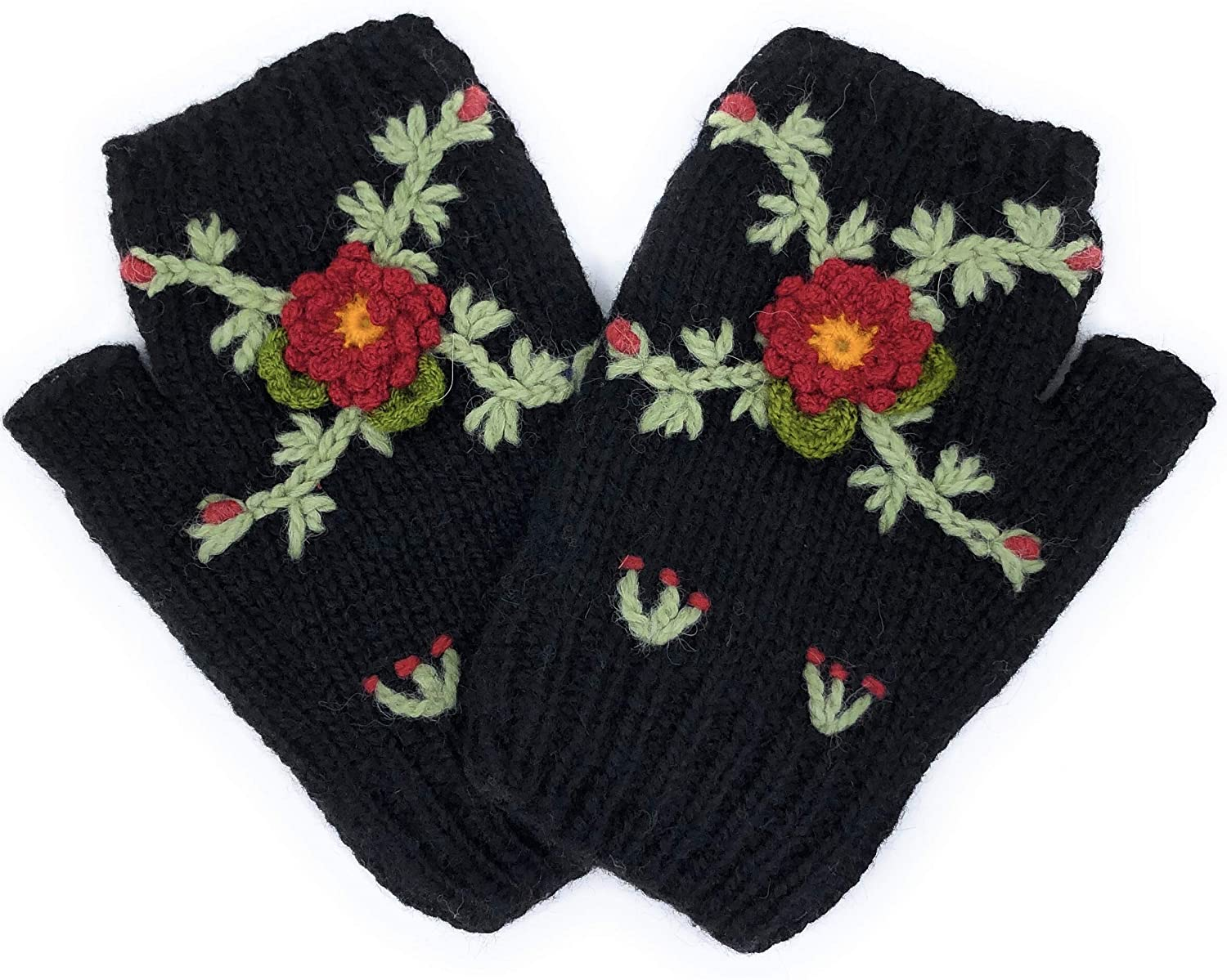 Hand Knit Alpaca Fingerless Embroidered Rose Flower Gloves Fleece Lined Winter Texting Driving Warm