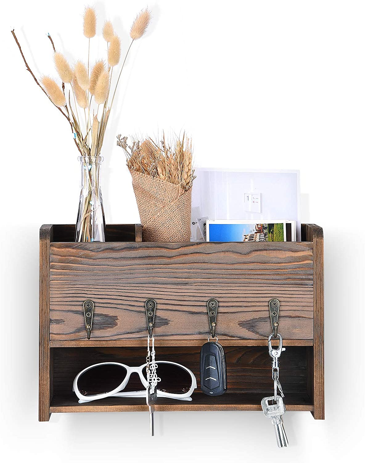 Rustic Wood Key Holder for Wall, Wall Organizer with 3 Adjustable Compartments and 4 Key Hooks, Mail Sorter for Entryway, Mudroom, Kitchen