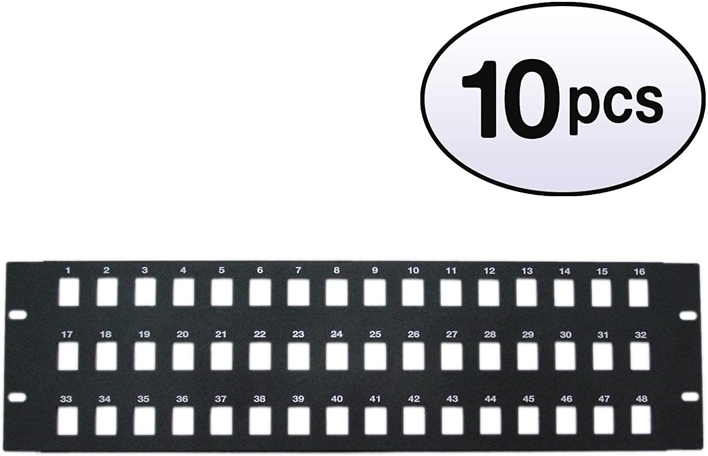 GOWOS (10 Pack) Rackmount 48 Port Blank Keystone Patch Panel, 3U