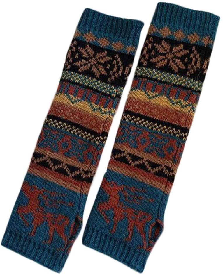 Womens Winter Warm Arm Sleeve Christmas Elk Long Fingerless Thumb Hole Gloves Mittens Knitted Arm Warmer