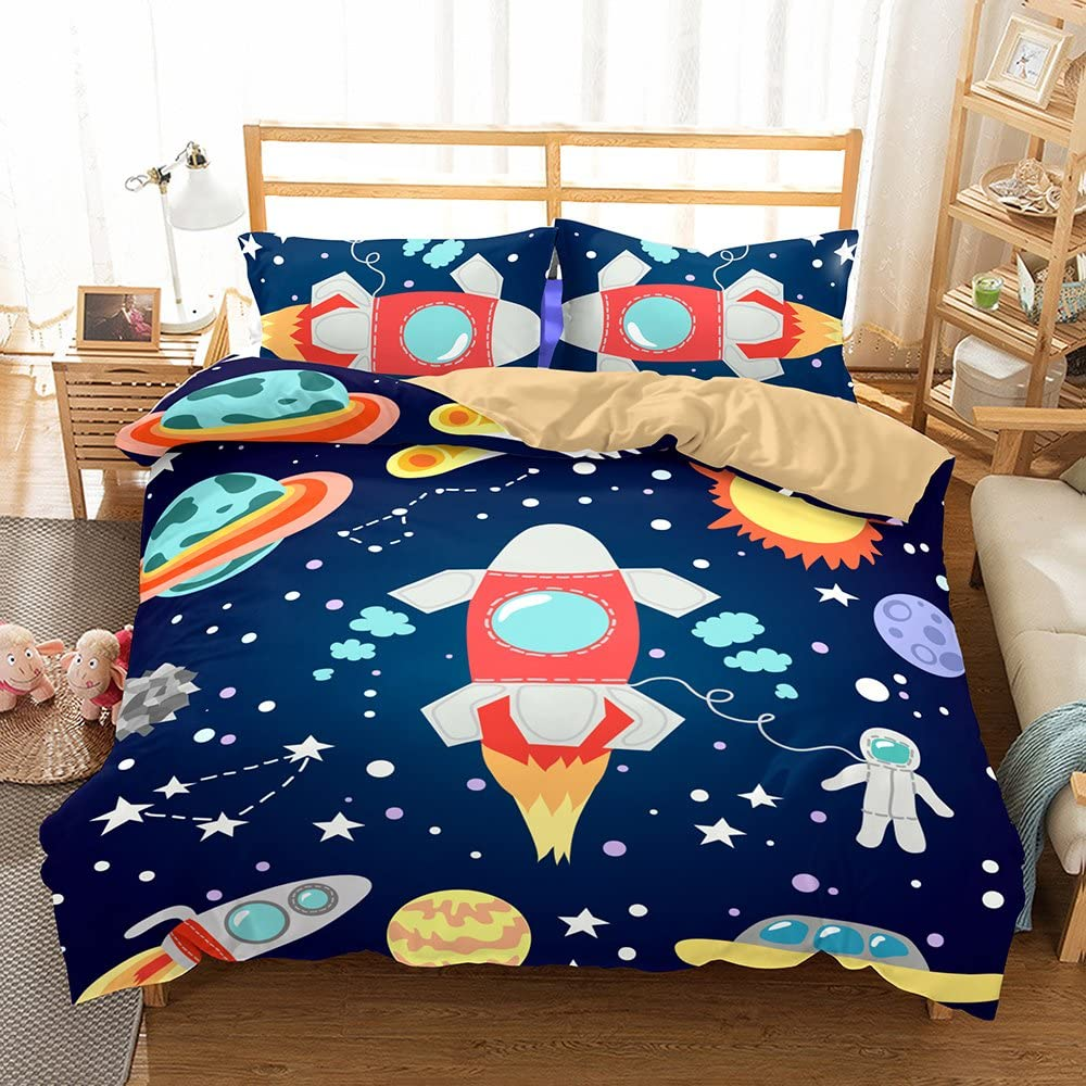 kxry Planets Stars Outer Space Bedding Set Rocket Ship Astronaut Duvet Cover Sets for Boys Teens 1 Duvet Cover + 1 Pillow Sham Twin Size Blue