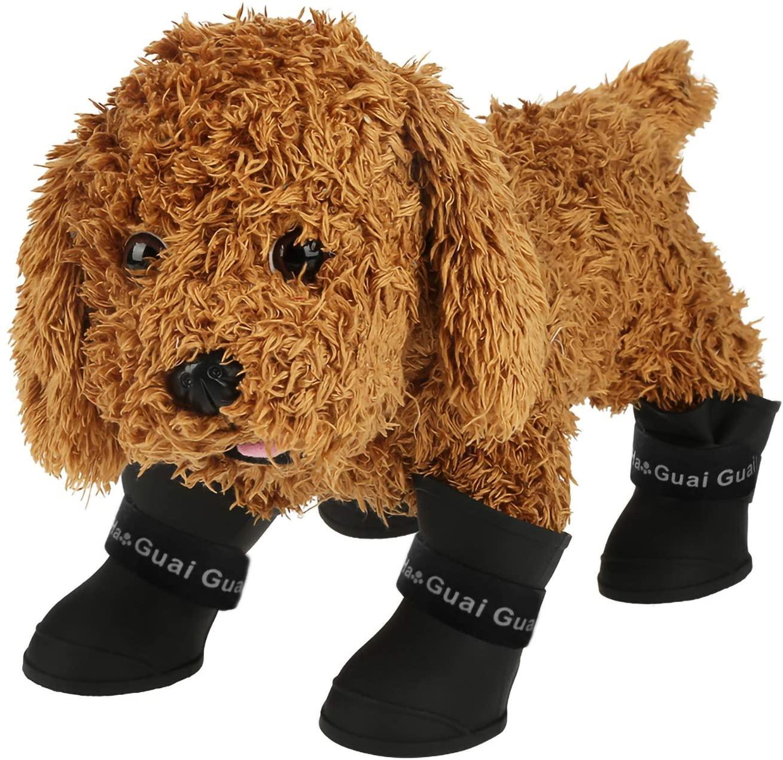 Yolispa 4pcs Waterproof Dog Shoes, Anti-Slip Keep Your Pets Paws Clean Soft Flexible Non-Toxic Environment-Friendly