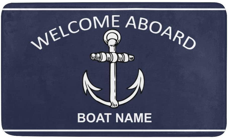 CUXWEOT Personalized Door Mat with Name Custom Welcome Boat Anchor Doormat Indoor Outdoor Entrance Door Rugs Home Garden Kitchen Decor Mats 23.6 x 15.7 Inch