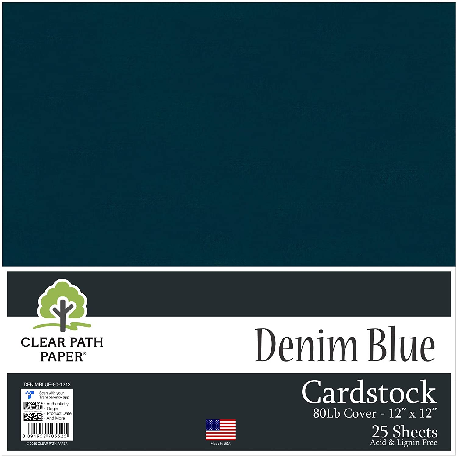 Denim Blue Cardstock - 12 x 12 inch - 80Lb Cover - 25 Sheets - Clear Path Paper