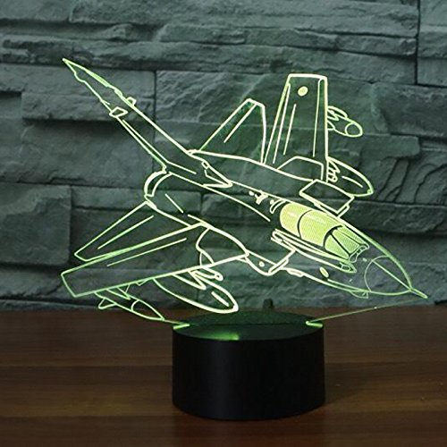 3D Fighter Night Light Illusion Lamp 7 Color Change LED Touch USB Table Gift Kids Toys Decor Decorations Christmas Valentines Gift