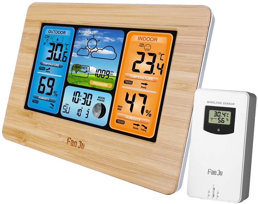 Kecheer FanJu FJ3373 Multifunction Digital Weather Station LCD Alarm Clock Indoor Outdoor Weather Forecast Barometer Thermometer Hygrometer with Wireless Outdoor Sensor USB Power Cord
