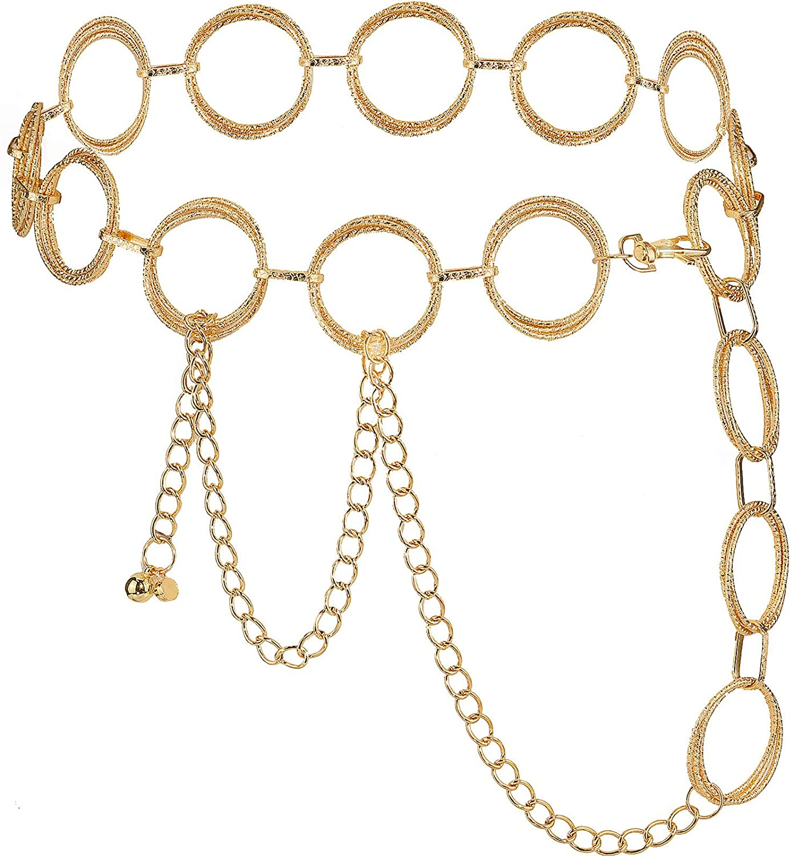 Suyi O-Ring Chain Belts for Women Girls Waist Link Chain Belt for Dress