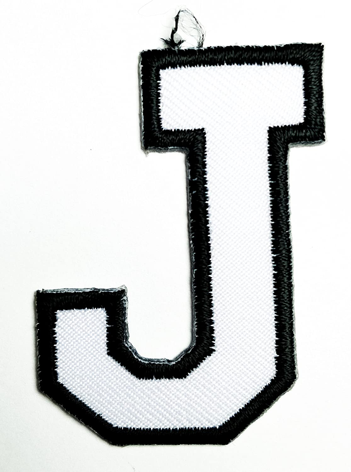 HHO White letter J Patch English Alphabet Character Embroidered DIY Patches, Cute Applique Sew Iron on Kids Craft Patch for Bags Jackets Jeans Clothes