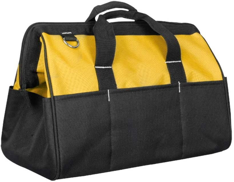 uxcell Professional Oxford Canvas 21 Tool Pockets, Fully Adjustable Waterproof & Protective Work Belt Black/Yellow