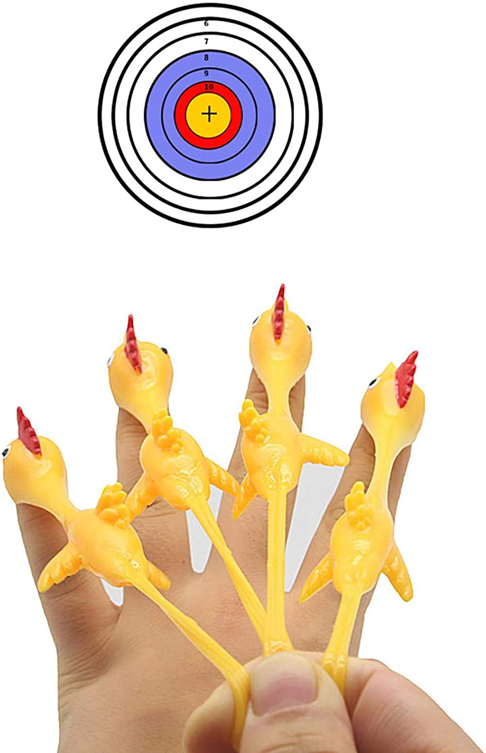 Slingshot Rubber Chicken Flick Chicken Flying Chicken Flingers Stretchy Funny Gift Party Supplies Christmas Gift Toy (5Pc)