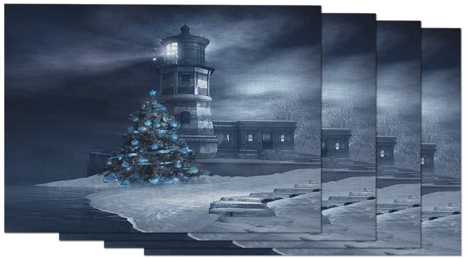 AOYEGO Lighthouse Placemats Frost Fog Christmas Winter Ice Ocean Snow Bright Sea Night Tree Placemats for Dining Table Set of 4 Kitchen 12X18 Inch Cotton Linen for Home Kitchen