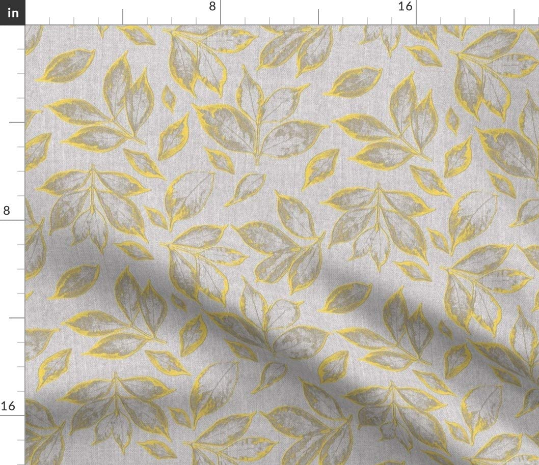 Spoonflower Fabric - Grey Yellow Gray Printed on Petal Signature Cotton Fabric by The Yard - Sewing Quilting Apparel Crafts Decor