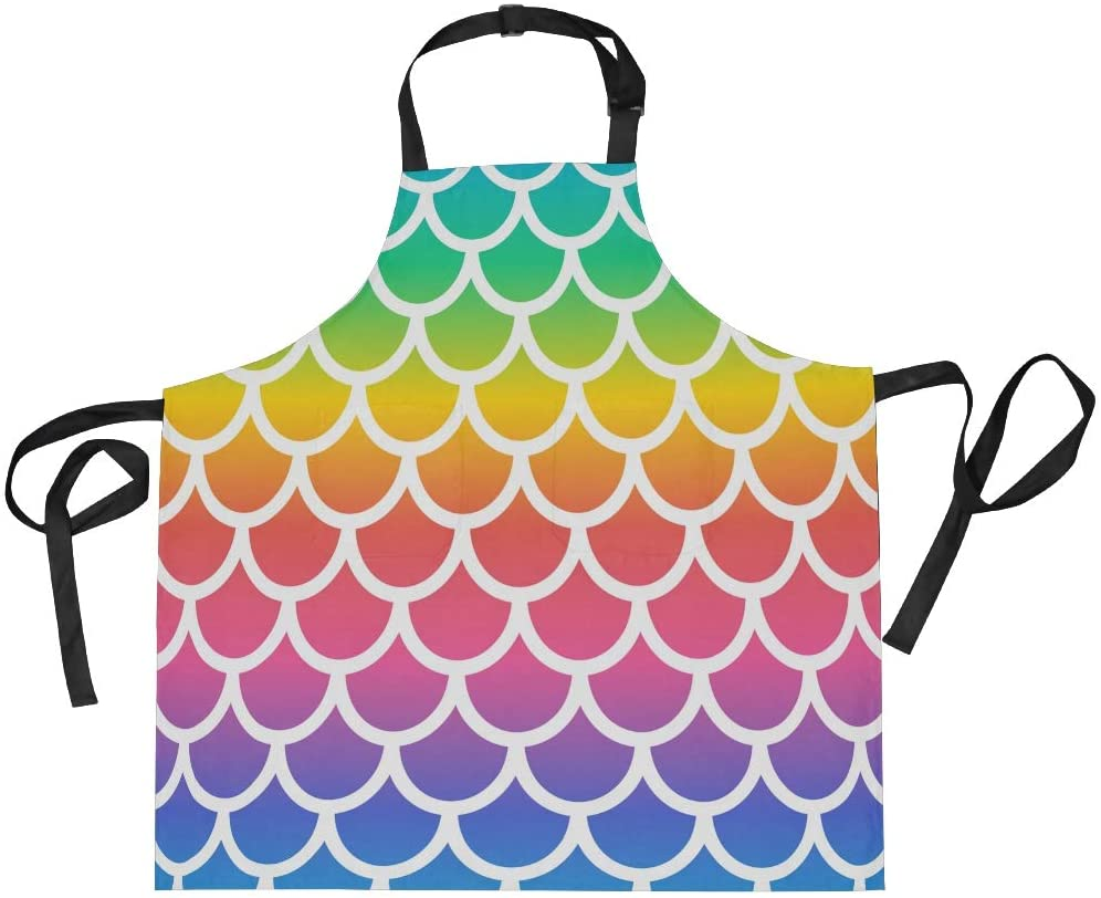 ALAZA Apron with 2 Pockets for Women Men Rainbow Mermaid Scale Colorful Adjustable Garden Bib
