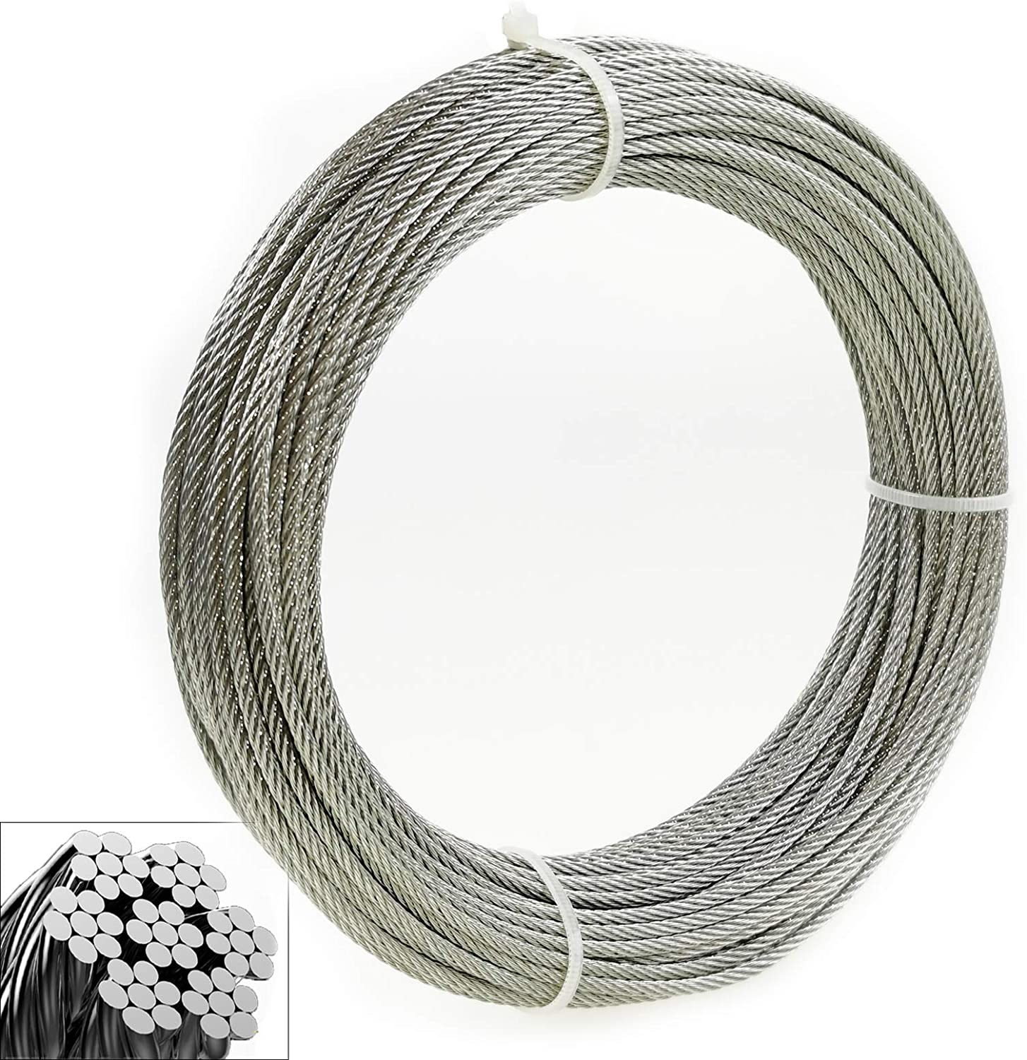 1/8 Inch Stainless Steel Wire Rope Aircraft Cable for Cable Railing Kit,Deck Stair Railing Hardware DIY Balustrade, 7x7 T316 Marin Grade (400 Ft)