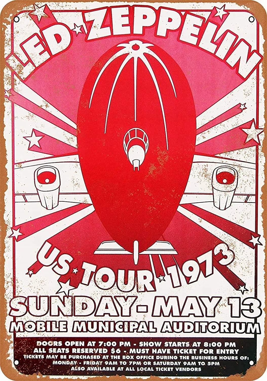 Topoose 8 x 12 Metal Sign - Led Zeppelin in Mobile - Vintage Bar Wall Decorative Retro Metal Vintage Sign