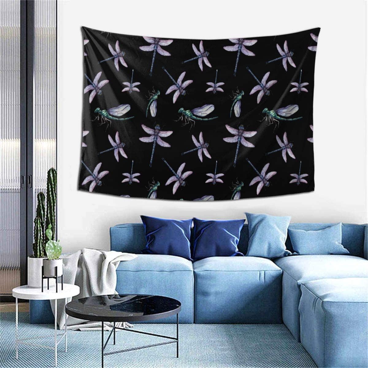 NiYoung Wall Hanging Tapestry Wall Hanging Home Decor Tapestry for Apartment, Kitchen, Bathroom, College Dorm Wall Tapestry Watercolor Dragonfly Pattern Tapestry