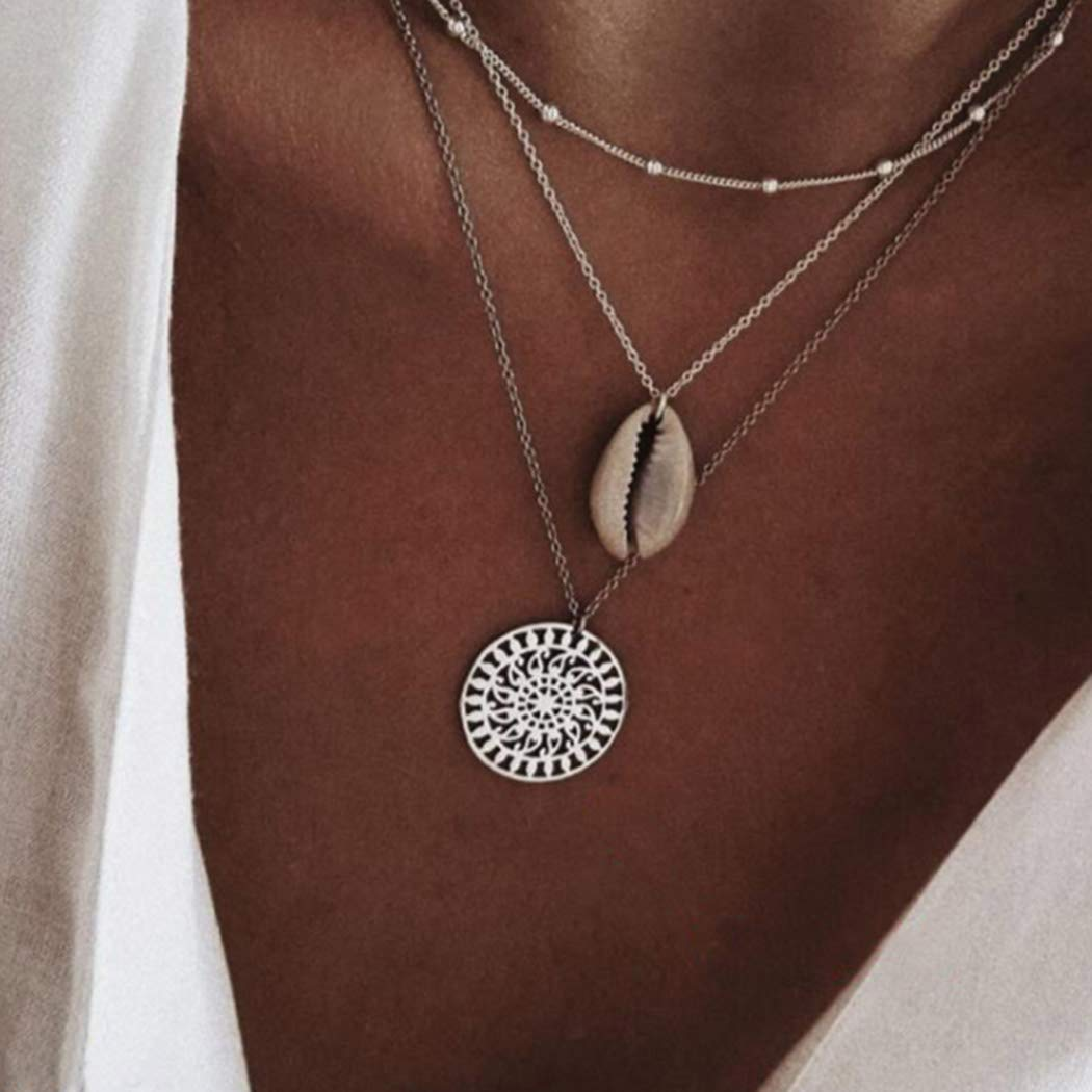 Crysly Boho Layered Necklaces Seashell Pendant Necklace Chain Choker Jewelry for Women and Girls