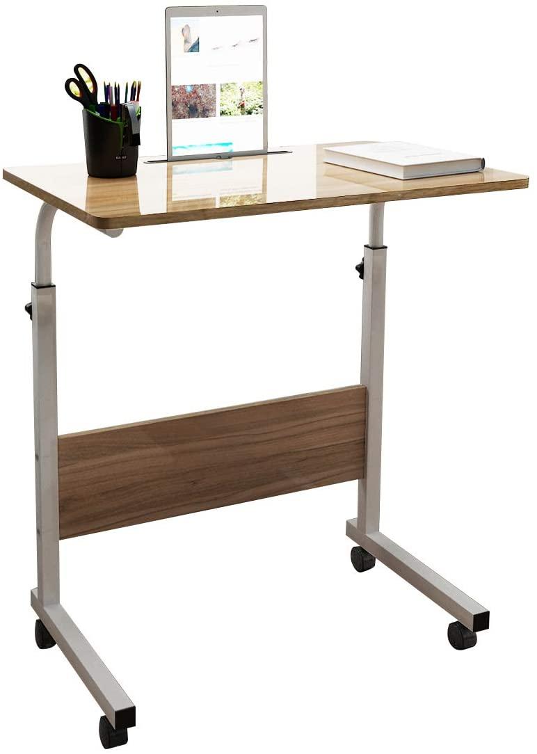 SogesHome 23.6 inch Adjustable Mobile Bed Table Portable Laptop Computer Stand Desks with Tablet Slot Cart Tray, Teak, NSDUS-05-3-60TK