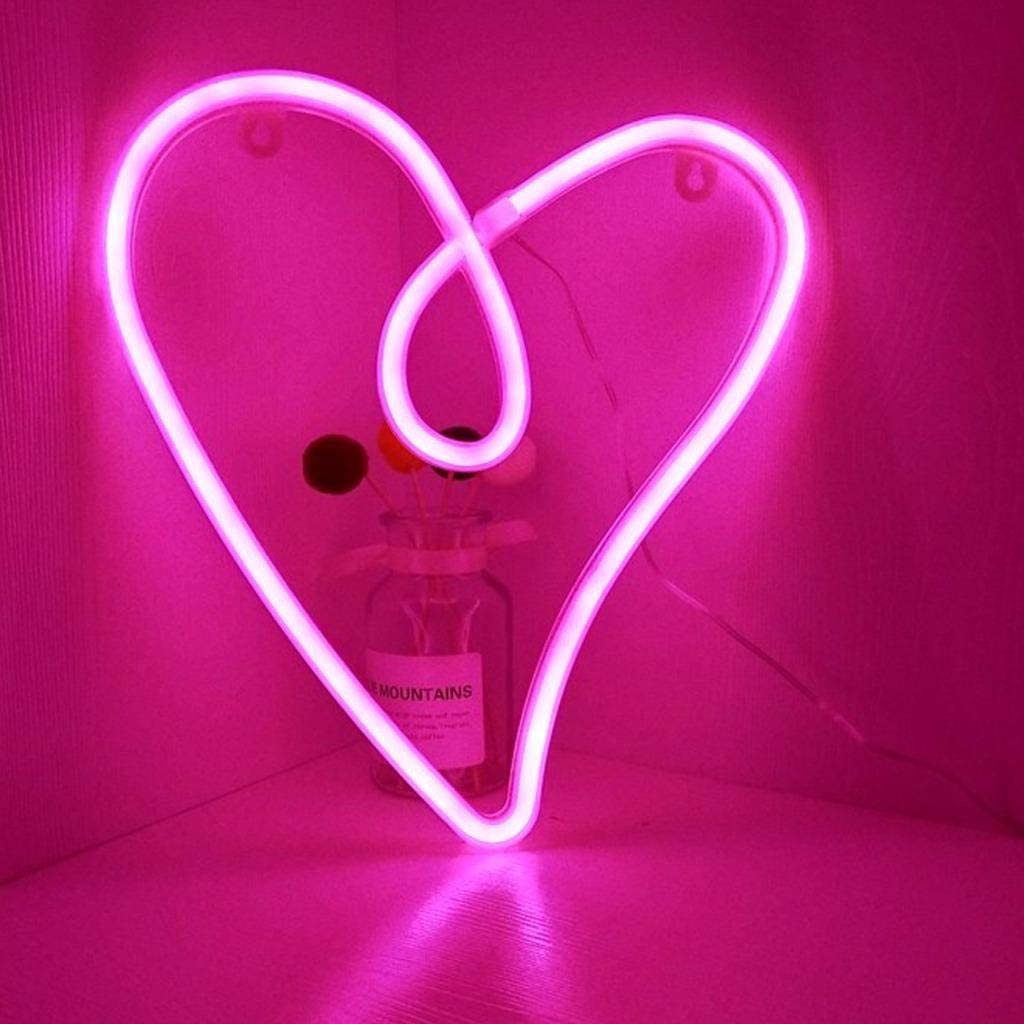 JETTINGBUY Christmas Neon Signs Festival Lights with Base Led Blue Neon Lights Festival Christmas Eve Decor Lights, USB/Battery Powered Neon Sign for Christmas Party, Hanging Type/Heart 2