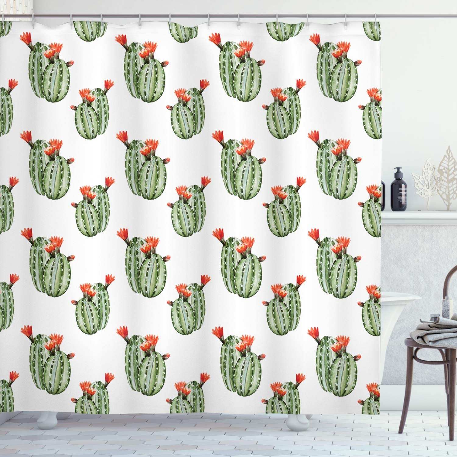 Ambesonne Cactus Shower Curtain, Cactus with Spikes and Red Flowers Mexican Hot Desert Vintage Image Artwork, Cloth Fabric Bathroom Decor Set with Hooks, 70