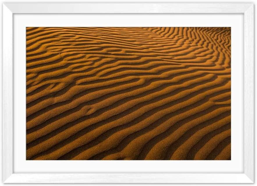 YENOYE-SM Desert Sand Surface Strips - Picture Art Print White Wooden Frame Framed Posters Home Deco 24x16in