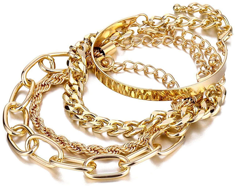 IFKM Charm Bracelets for Women, 18K Gold Plated Dainty Layered Chain Bracelets Adjustable Cute Bangle Link Bracelet Set
