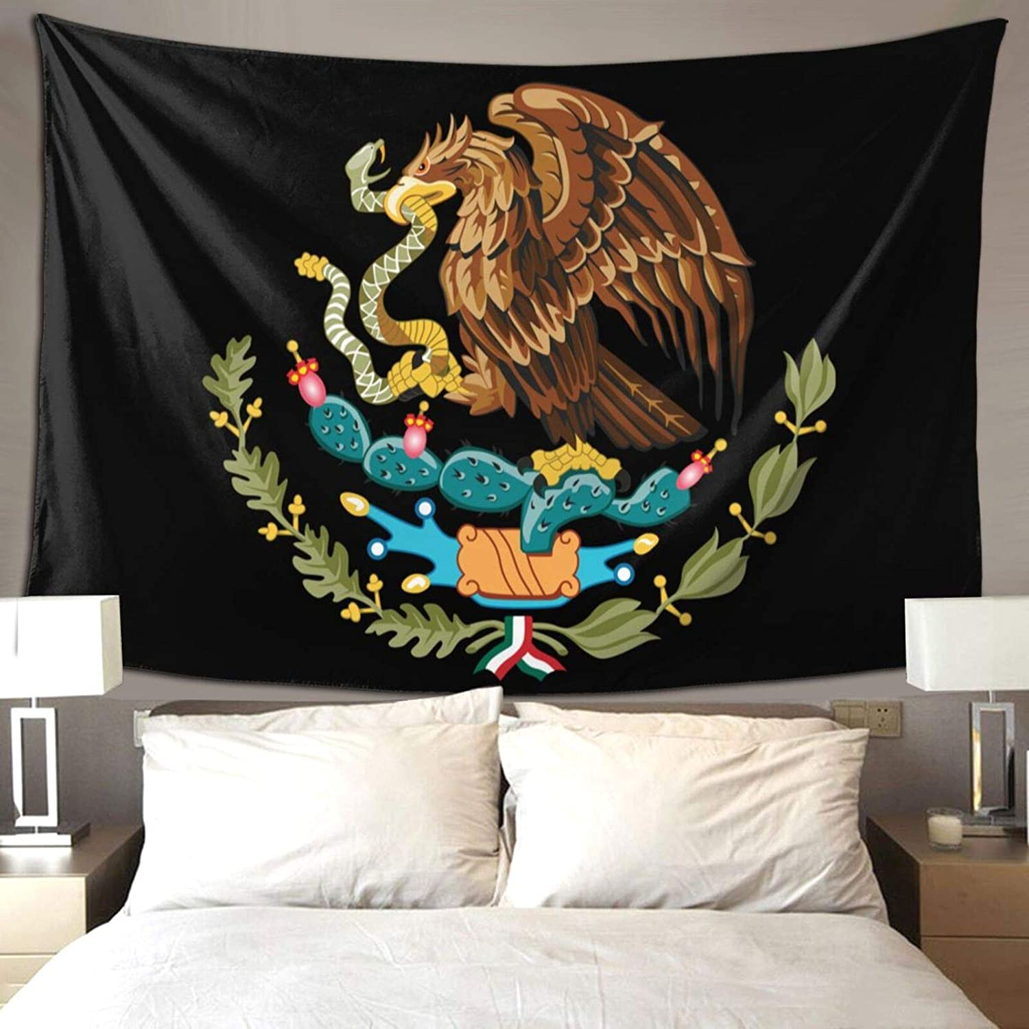 QSMX 40x60 Inches Cool Mexico Flag Eagle Tapestry Wall Hanging, Wall Art Decoration for Bedroom Living Room Dorm, Window Curtain Picnic Mat, Bedspread, Perfect for Teens Adult, Easy to Care