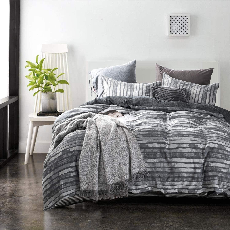 ECRISDOO Cotton Duvet Cover Set Comforter Set Queen 3 Pieces Bedding Sets Luxury Jacquard Stripe Soft and Comfortable Bed Cover & Pillow Shams