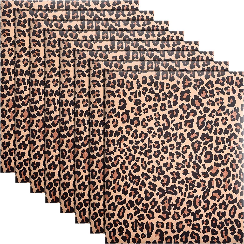 8 Sheets Leopard Pattern Heat Transfer Vinyl Animal Print HTV 12 x 10 Inch Iron on Vinyl for DIY Clothing T-Shirts Hats