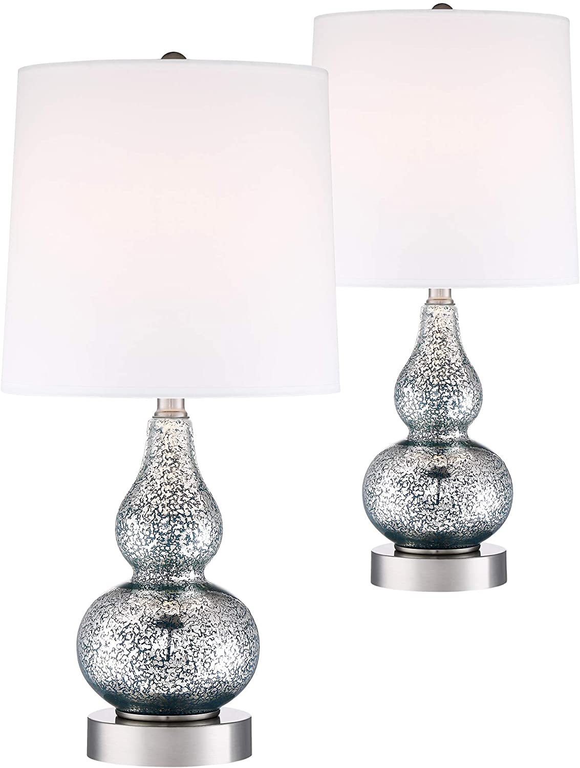 Castine Turquoise Glass USB Lamp Set with Table Top Dimmers - 360 Lighting